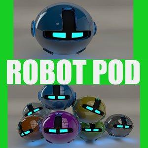 3d c4d robotic pod blue