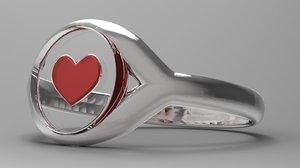 silver ring heart 3d c4d