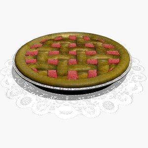 3d strawberry rhubarb pie