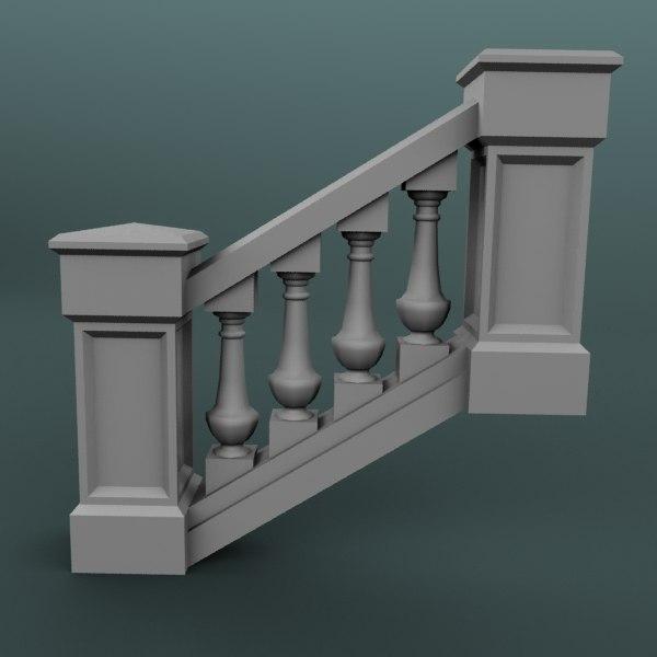 staircase balustrade obj