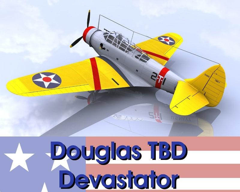 3ds max tbd devastator bomber aircraft