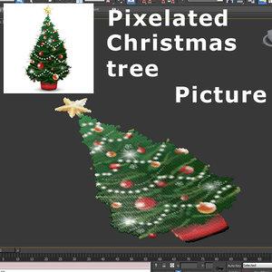 3d pixelated christmas tree model
