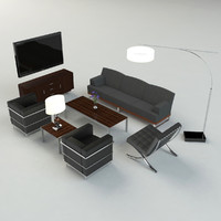 3d model modern living room set