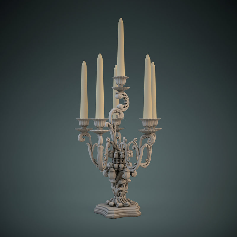 3dsmax luxury candlestick chelini