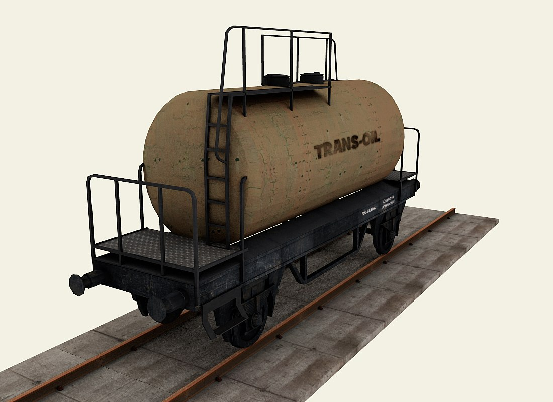 3d model railroad tanker wagon