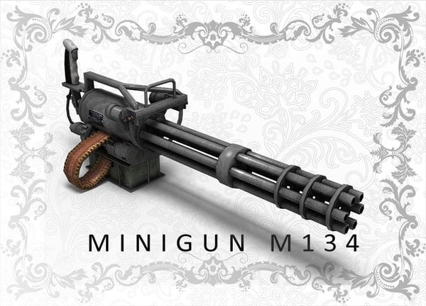 3d character gatling gun