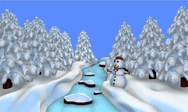 c4d christmas river scene snow