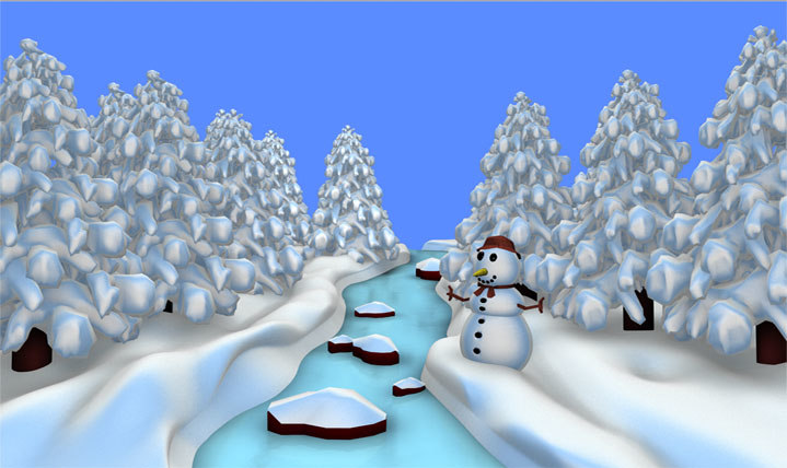 c4d christmas river scene snow