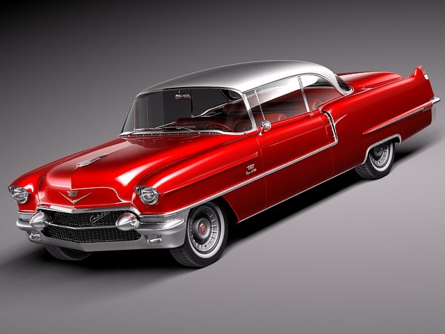 3d cadillac coupe deville 1956 model