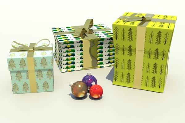 christmas present baubles 3d obj
