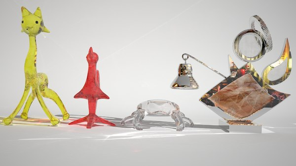 3ds max sculptures animals glass