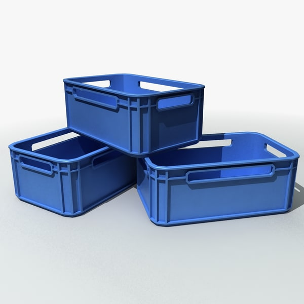 3d model of plastic storage crates