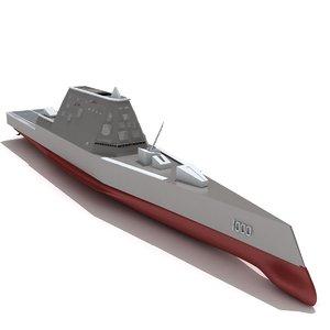 zumwalt class destroyer dd-1000 3d model