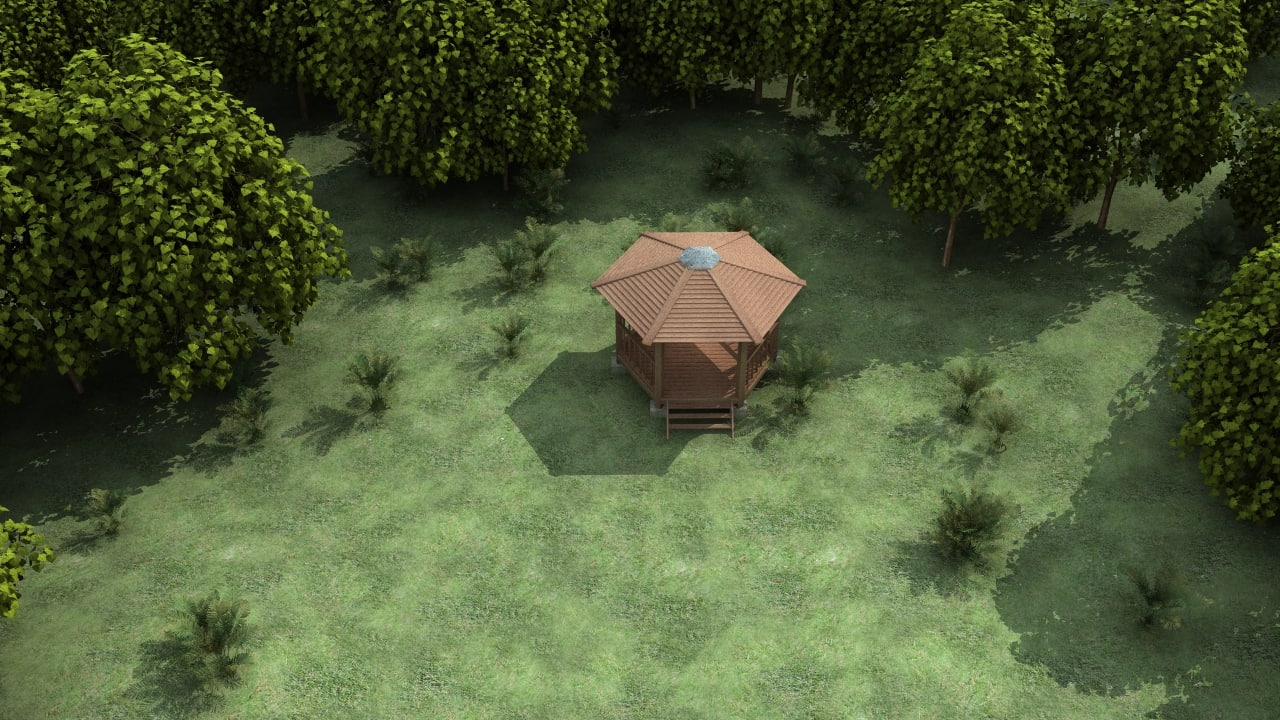 lwo gazebo forest tree
