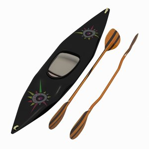 3d model wood kayak paddles squirt