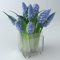 3d bouquet vase lilac model