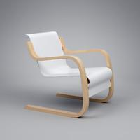 3d model armchair 42 alvar aalto