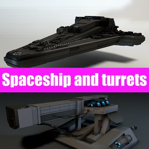 3d model spacecraft cannon turrets