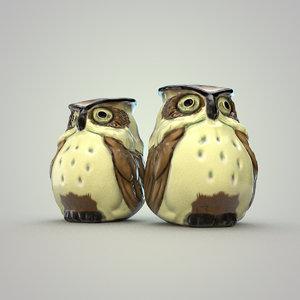 3d vintage owl