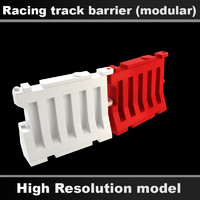 3d modular racing track barrier model