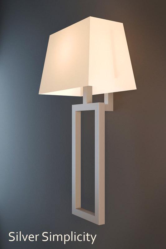3d model silver simplicity sconce