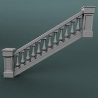 3dsmax staircase balustrade