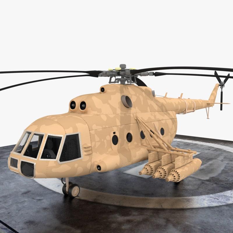 mi-8 helicopter 3d model