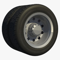 3d model of wheel rear axle dual