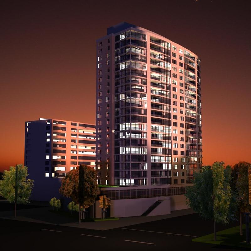 3ds max rise building scene