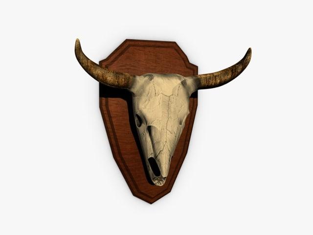3d buffalo skull trophy model