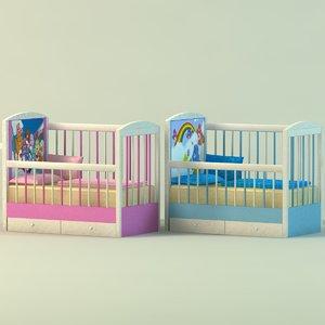 babies cot 3d model