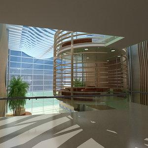 3d model of hospital lobby