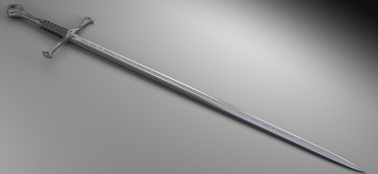 3d aragorn sword lord model
