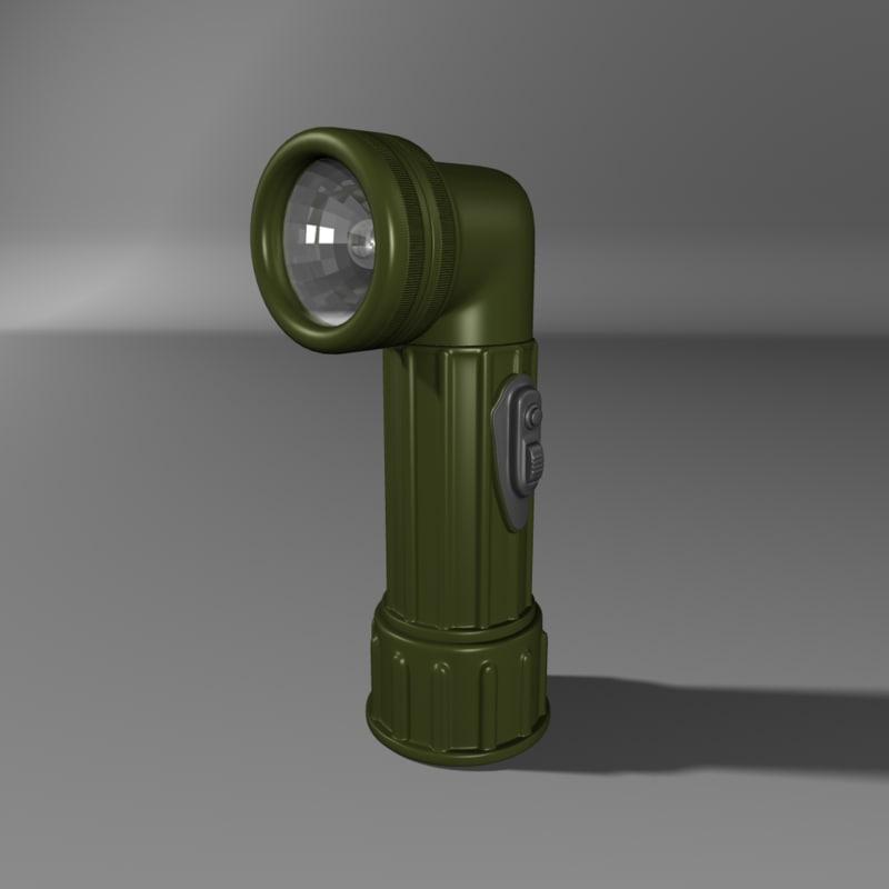 military flashlight 3d model