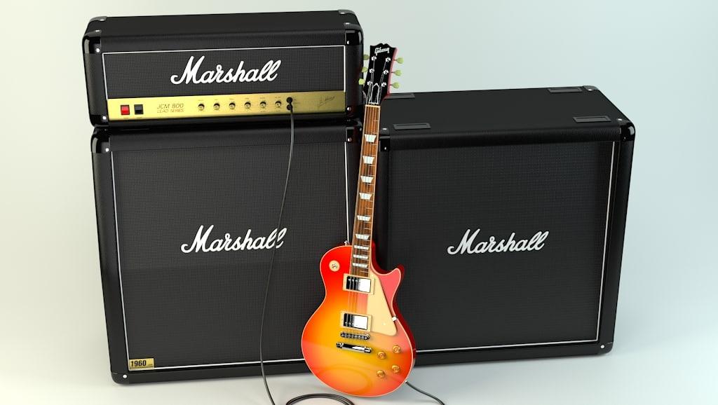 les paul guitar jcm800 3d model