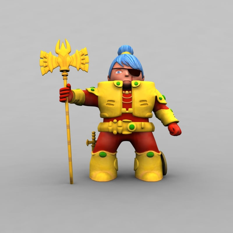 cartoon warrior obj