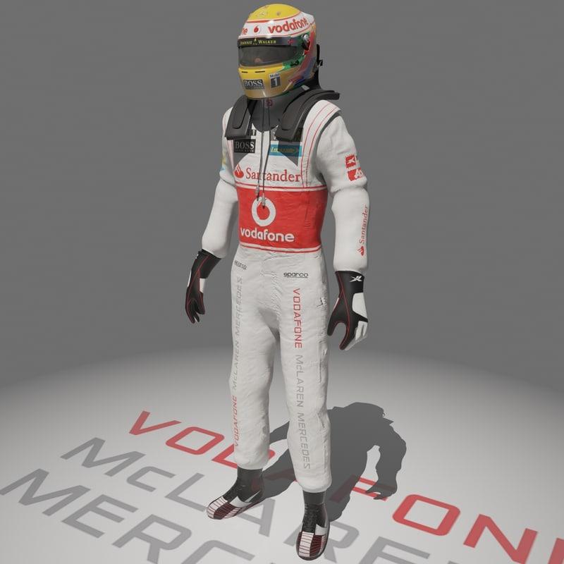 formula driver lewis hamilton 3d model
