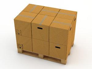 3d pallet boxes model