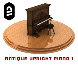 antique upright piano 1 3d model