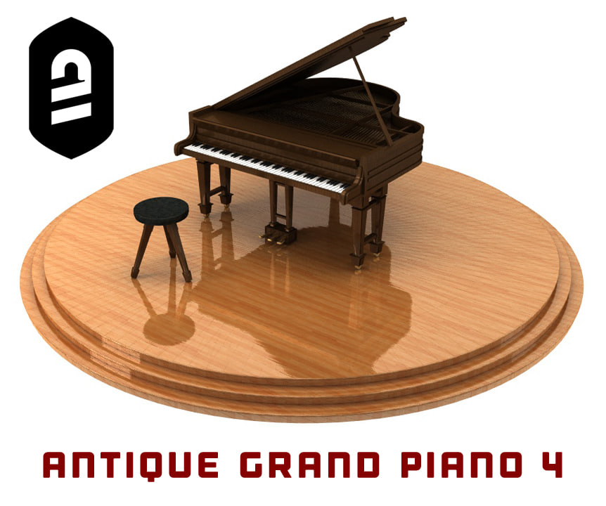 3d model of antique grand piano 4