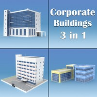 3d model corporate buildings pack 01