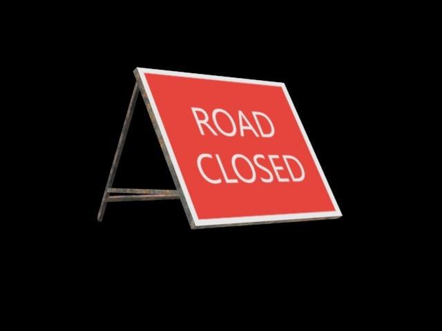 3d road closed sign model