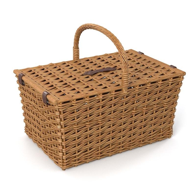3d model wicker basket rattan