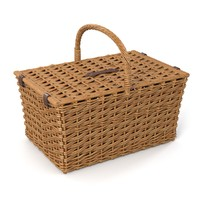 3d model wicker basket rattan