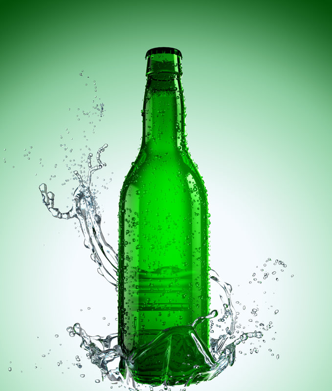 beer bottle splash 3d model
