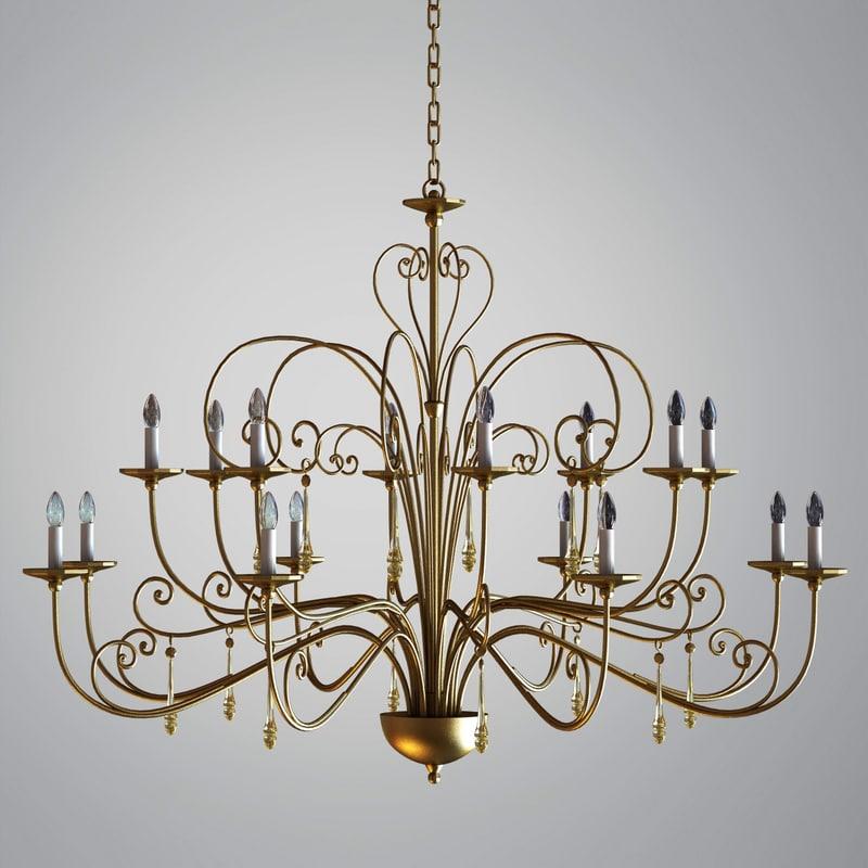 3d model chandelier gold pendants