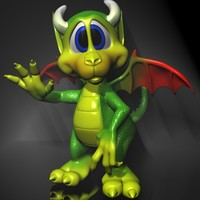 3ds max cute cartoon dragon rigged