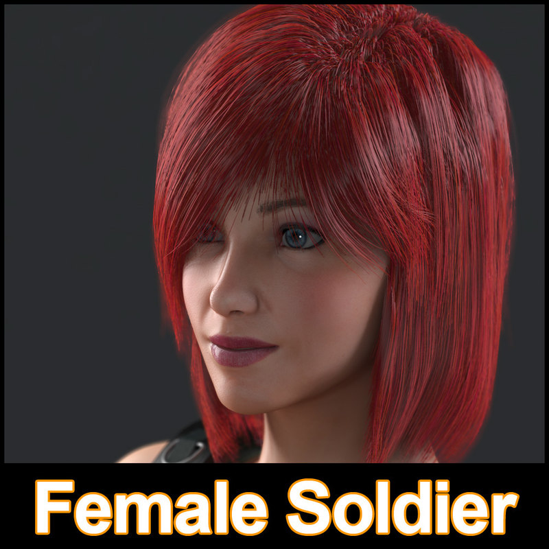 3dsmax female soldier character