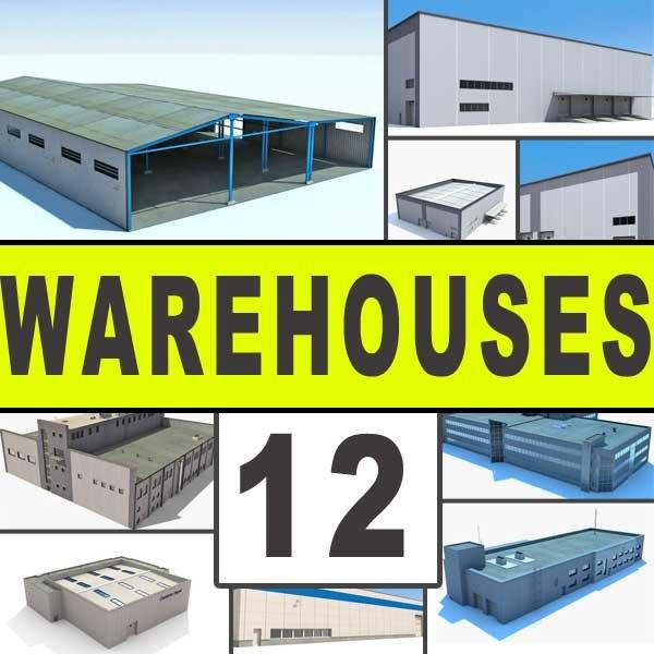 3d warehouses buildings 12 industrial