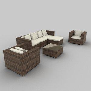 rattan seat set 07 3d 3ds